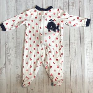 Whale & Anchor Baby Footed One Piece 0-3M